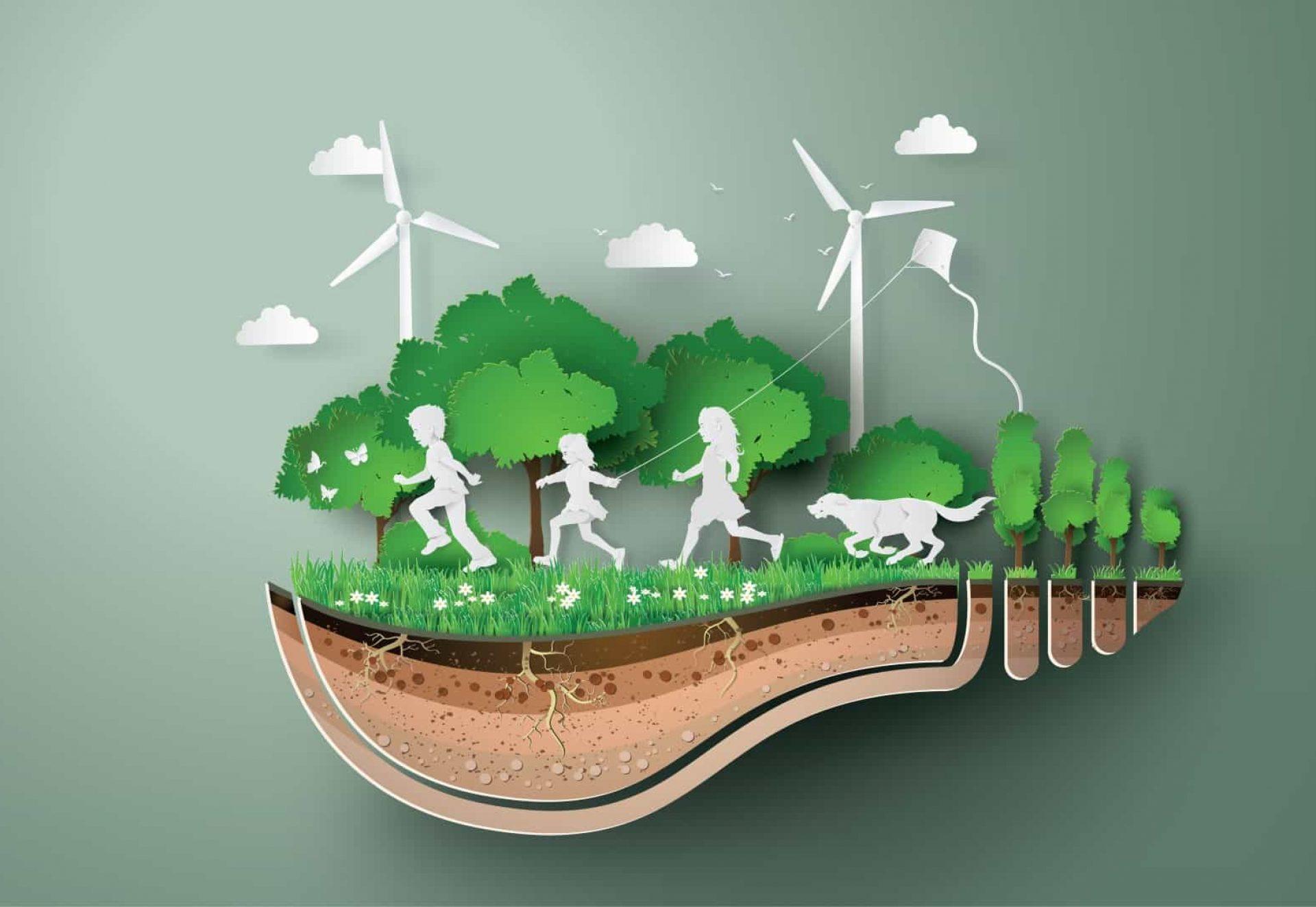 Concept d'écologie et d'environnement avec des enfants courant dans le parc