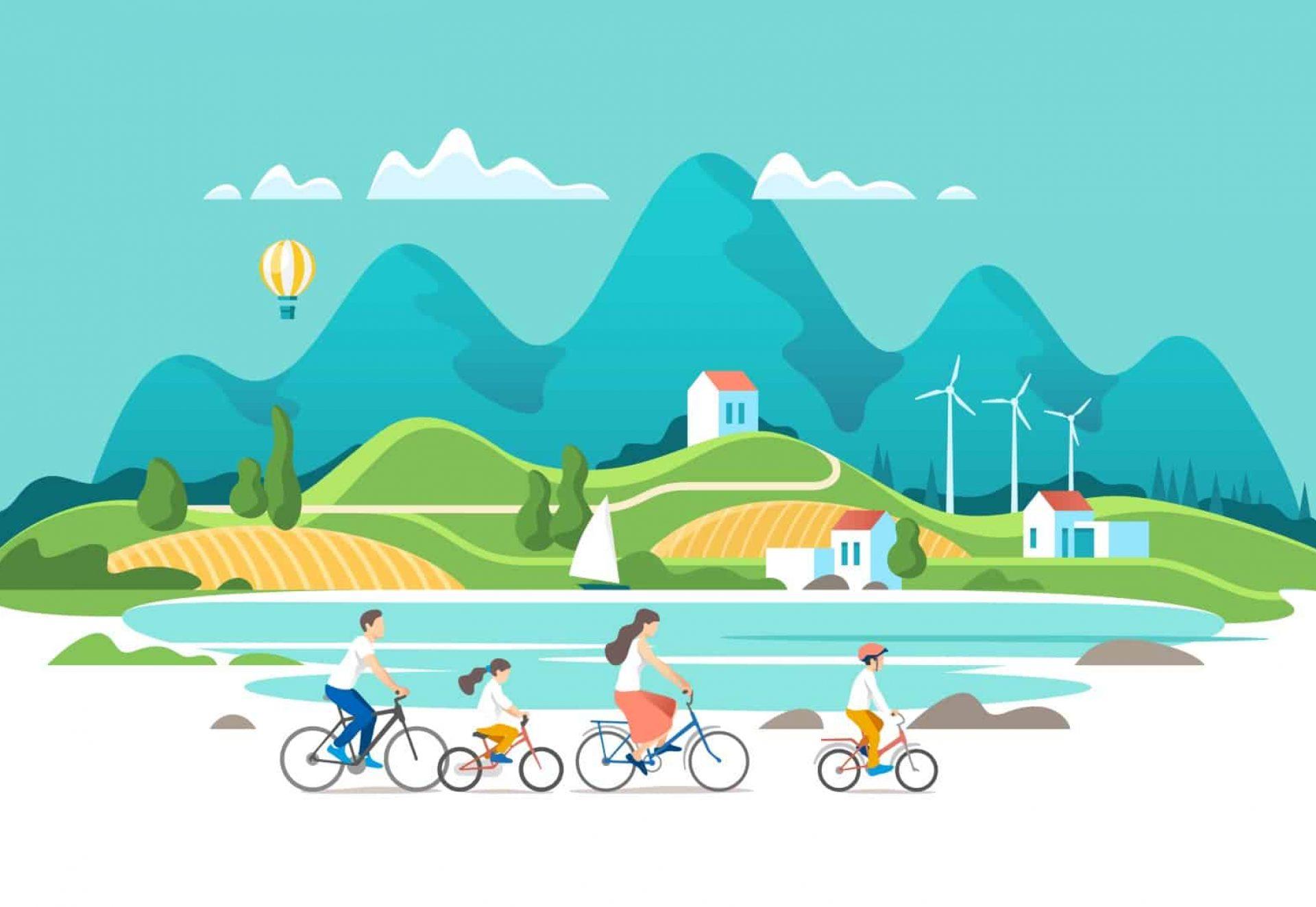 La famille fait du vélo sur fond de paysage naturel