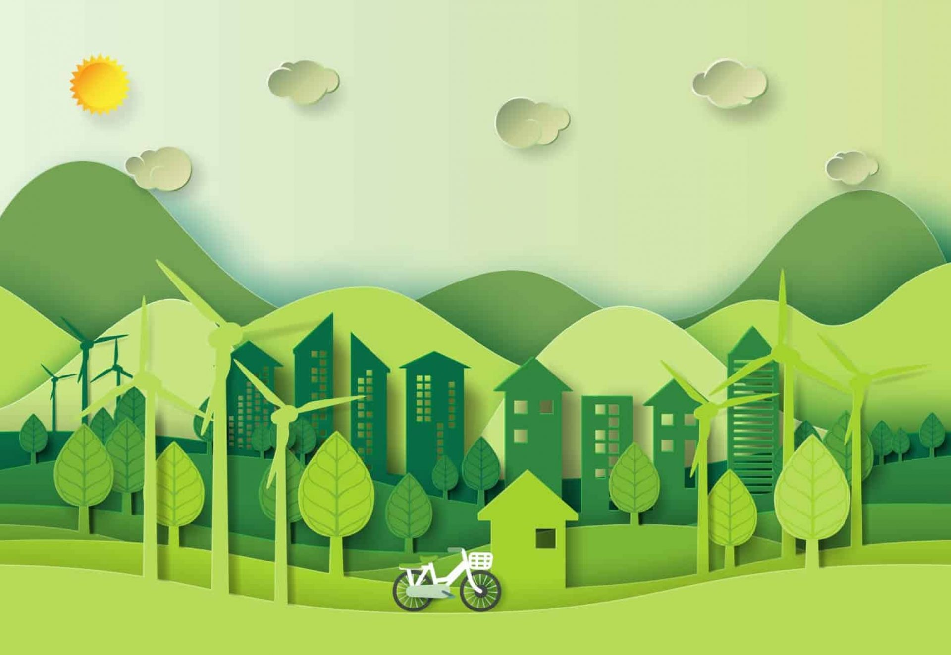 Save world environment concept green city