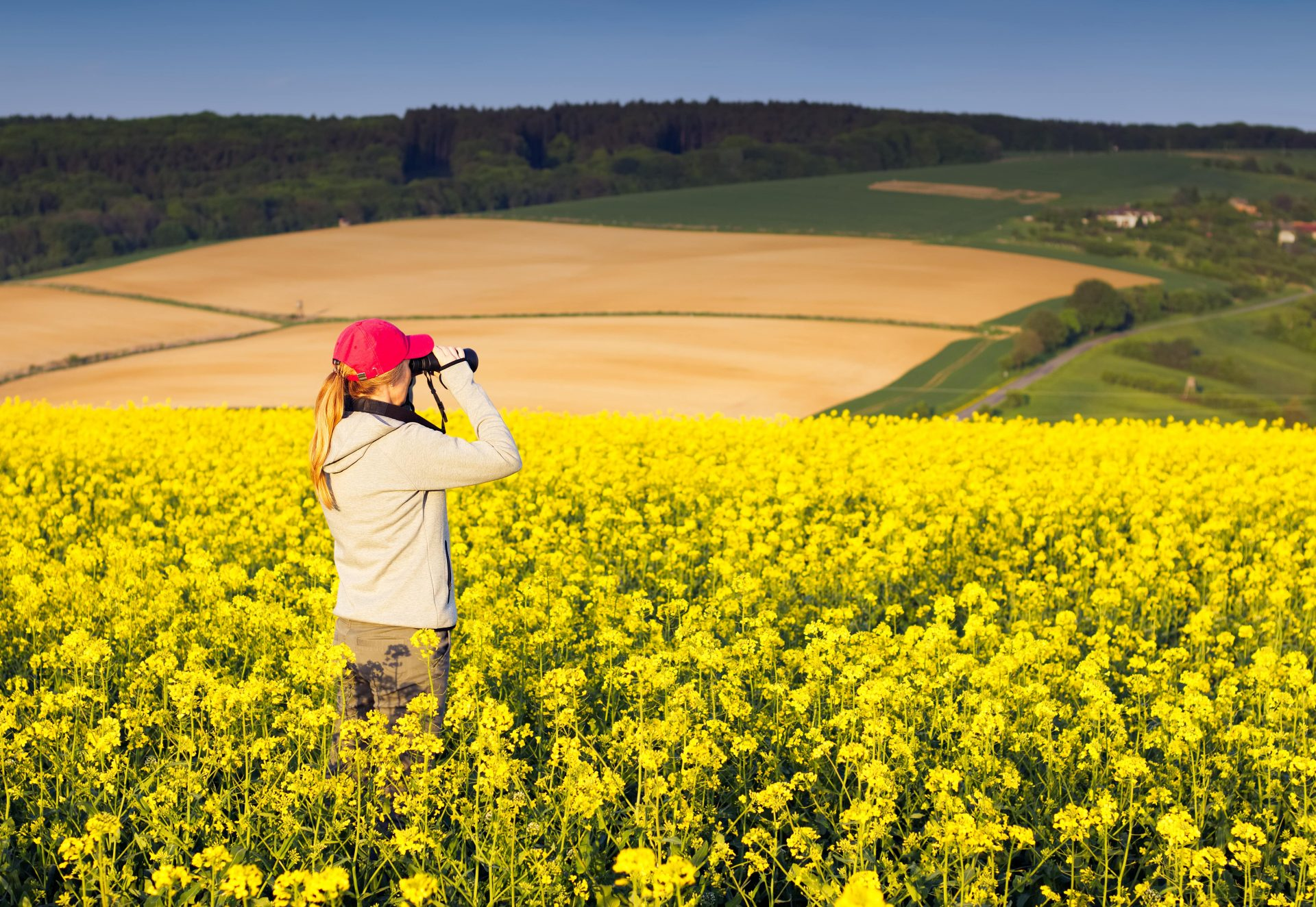 Young,Hiking,Woman,Watching,Village,Landscape,With,Binoculars.,Tourist,Girl